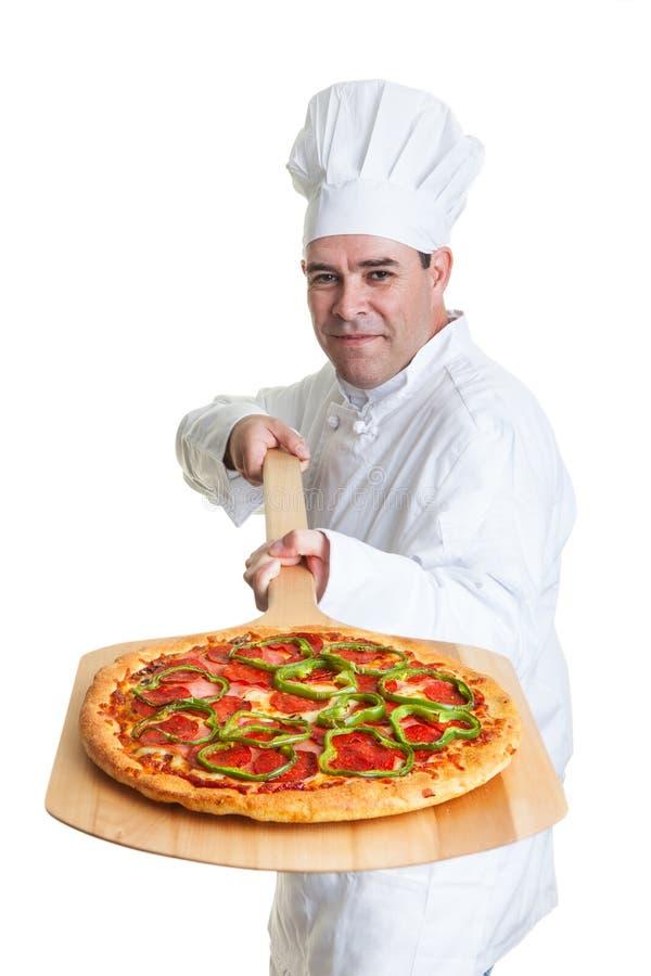 Cozinheiro chefe da pizza foto de stock