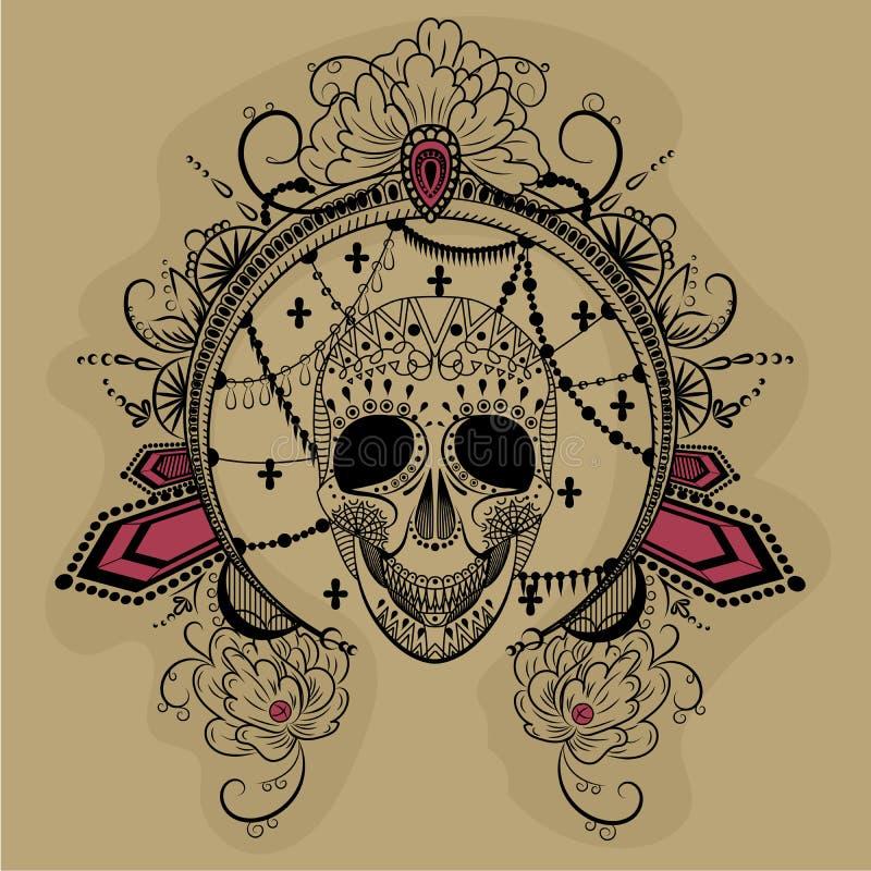 Um crânio com quadro redondo decorado e os diamantes vermelhos ilustração do vetor
