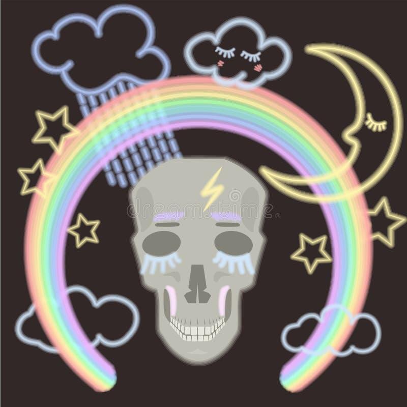 Um crânio da iluminação fluorescente com as nuvens e a lua de estrelas do arco-íris ilustração stock