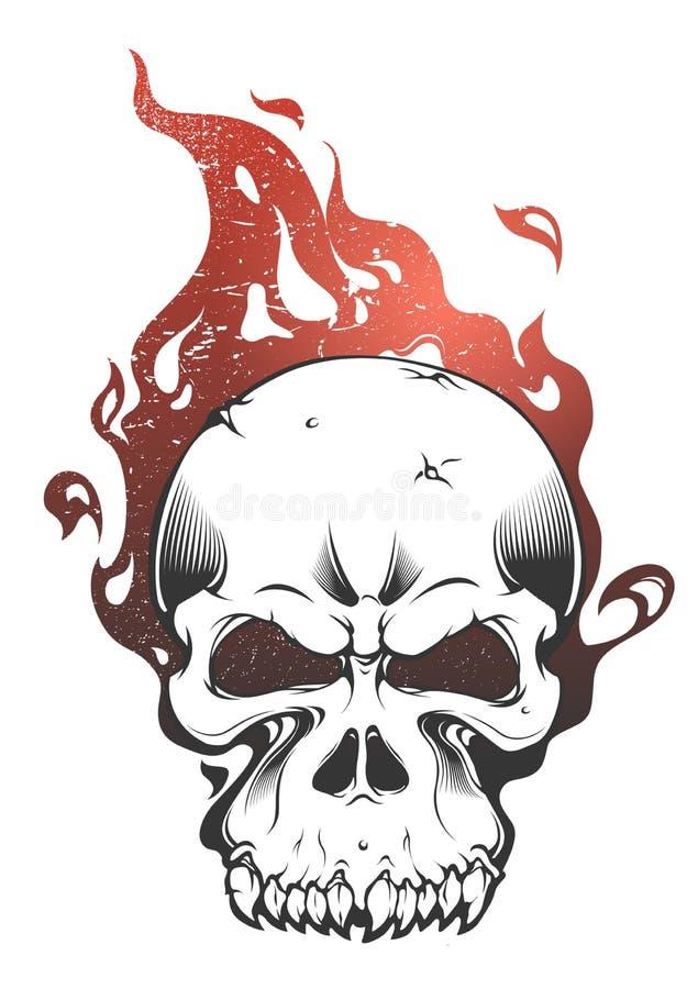 Um crânio queimado por um fogo feroz ilustração do vetor