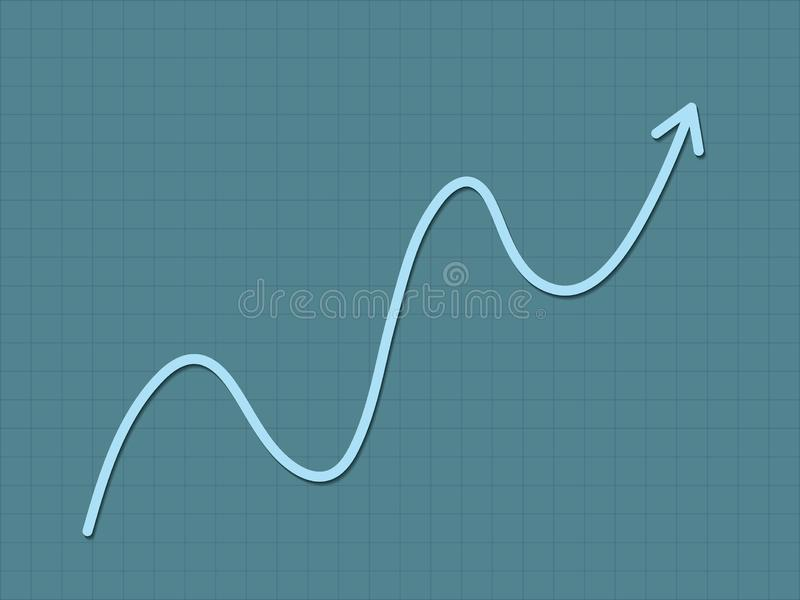 Um crescimento ascendente da tendência do azul fresco e simples para a carta do sucesso para o negócio e um progresso financeiro  ilustração royalty free