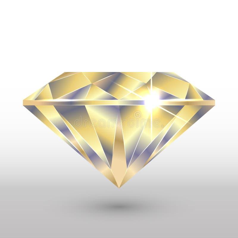 Um cristal do diamante Em tons do ouro Imagem do vetor ilustração stock