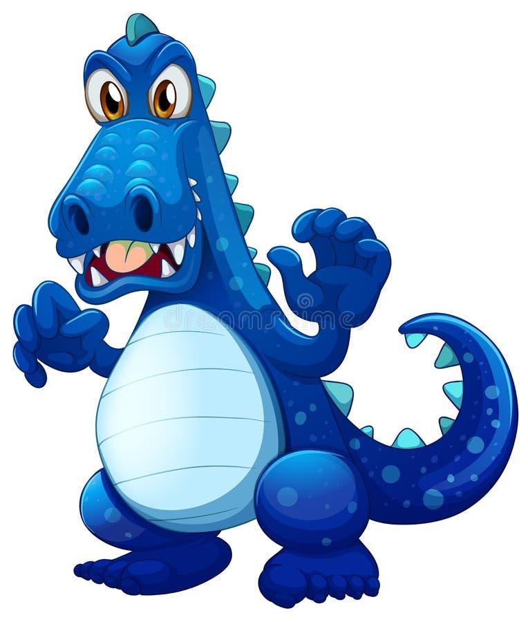 Um crocodilo azul assustador ilustração do vetor
