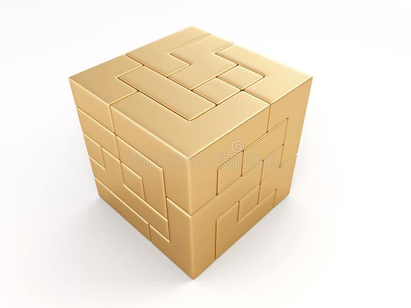 Um cubo construído dos blocos. Enigma ilustração stock