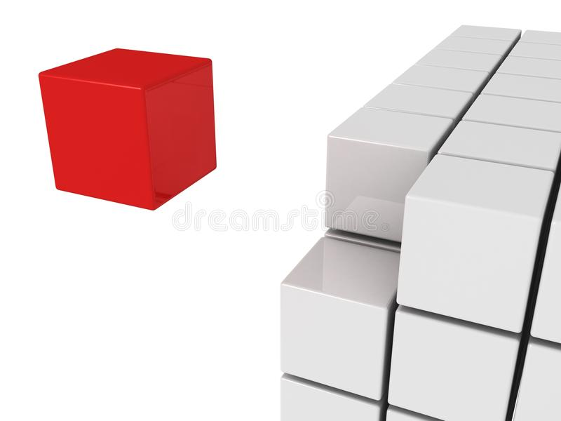 Um cubo vermelho do unicue do conceito da individualidade ilustração royalty free