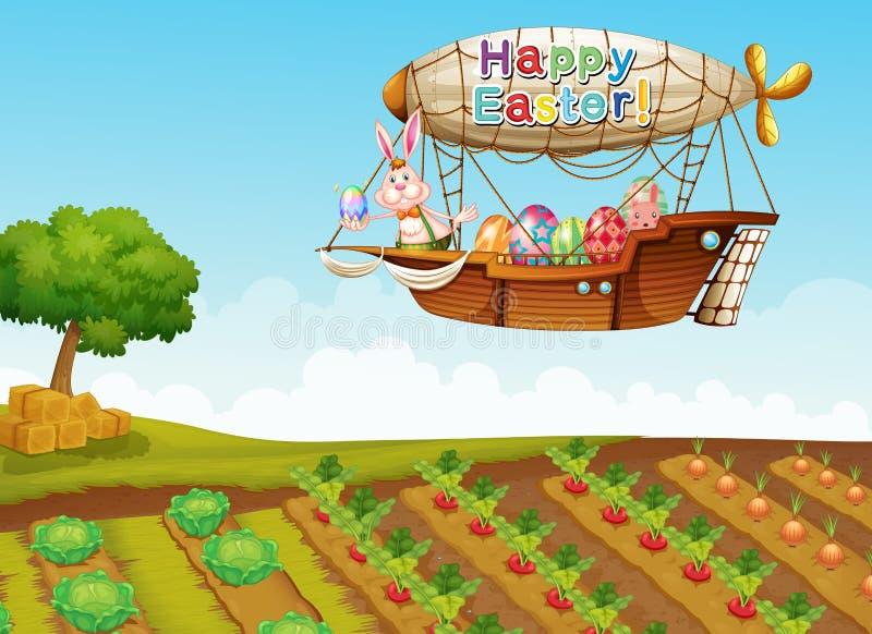 Um cumprimento feliz de easter com um coelho em um avião acima do fá ilustração stock