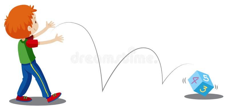 Um dado do número do rolamento do menino ilustração royalty free