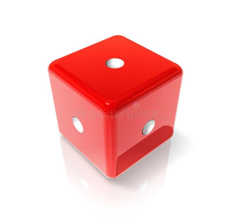 Um dado vermelho ilustração stock