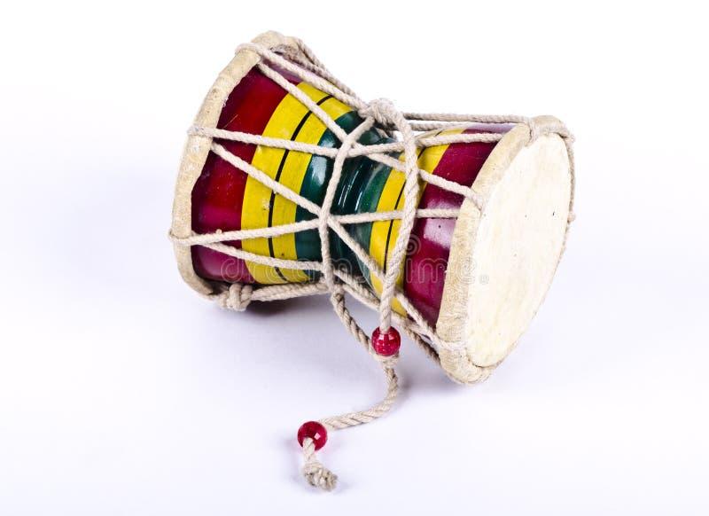Um damru do instrumento musical fotografia de stock royalty free