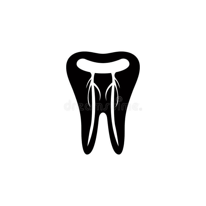 um dente com ícone dos nervos Elementos do ícone dental Projeto gráfico da qualidade superior Sinais e ícone da coleção do símbol ilustração royalty free