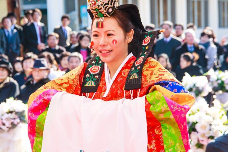 Um desempenho do casamento coreano tradicional. fotografia de stock royalty free