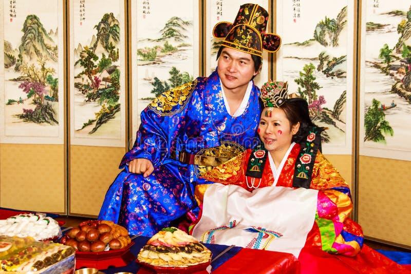 Um desempenho do casamento coreano tradicional. imagem de stock royalty free
