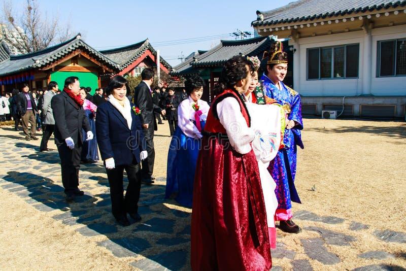 Um desempenho do casamento coreano tradicional. fotografia de stock