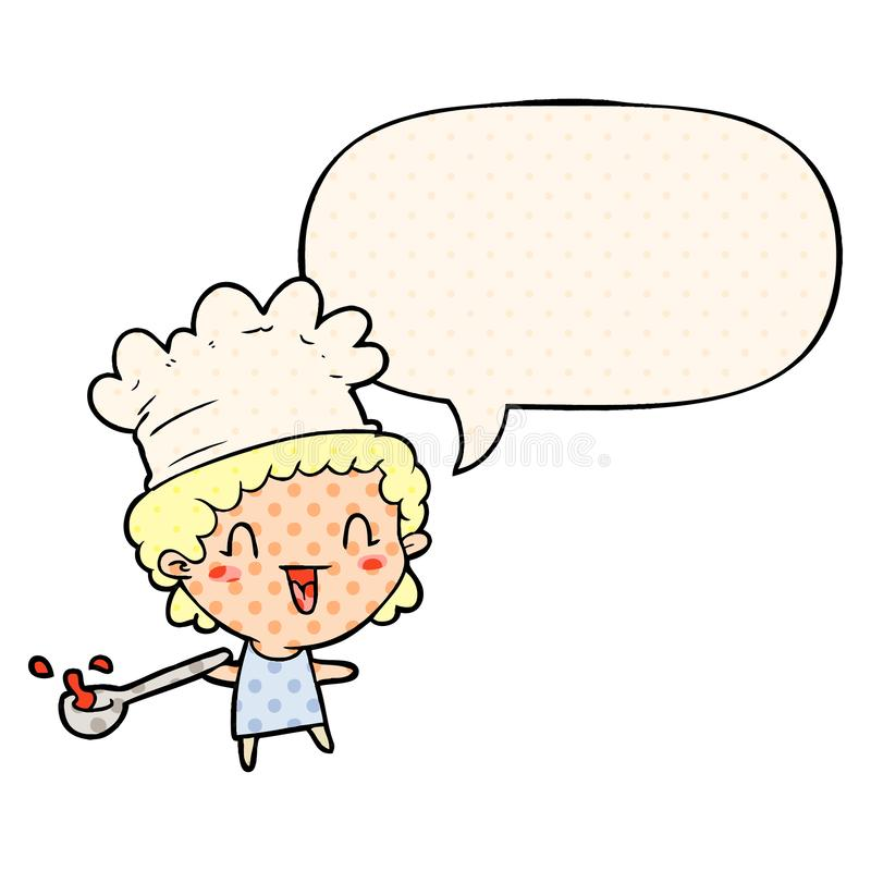 Um desenho animado e criativo, feliz chef e bolha de fala no estilo dos quadrinhos ilustração do vetor