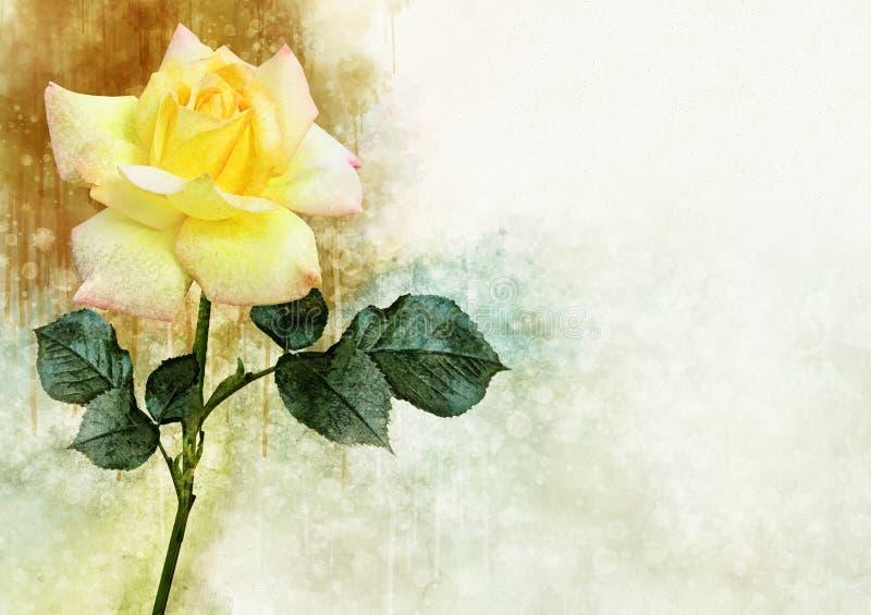 Um desenho da aquarela de uma flor cor-de-rosa amarela vibrante Placa bot?nica suculento - abandone o cacto, o cacto de pera espi ilustração do vetor