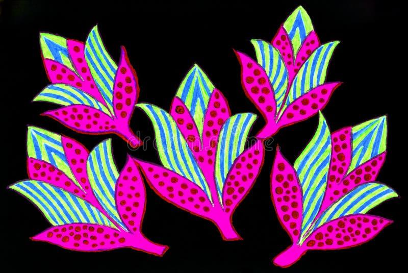 Um desenho da pena do gel de cinco flores coloridas brilhantes ilustração stock