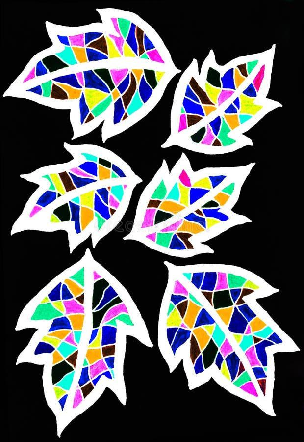 Um desenho da pena do gel de seis flores coloridas brilhantes ilustração royalty free