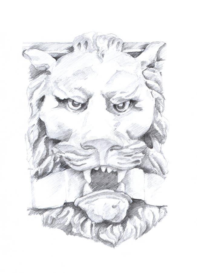 Um desenho do leão, esboço da escultura, desenho original no papel ilustração stock
