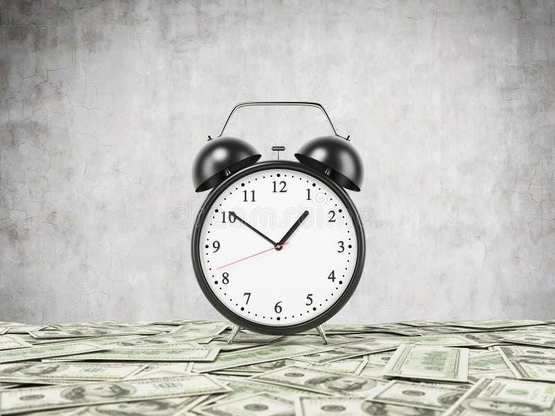 Um despertador é estabelecido na superfície que é coberta por notas do dólar Fundo concreto ilustração royalty free