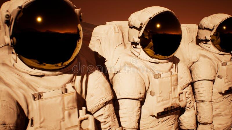 Um destacamento dos astronautas que preparam-se para explorar o planeta Marte rendição 3d imagem de stock