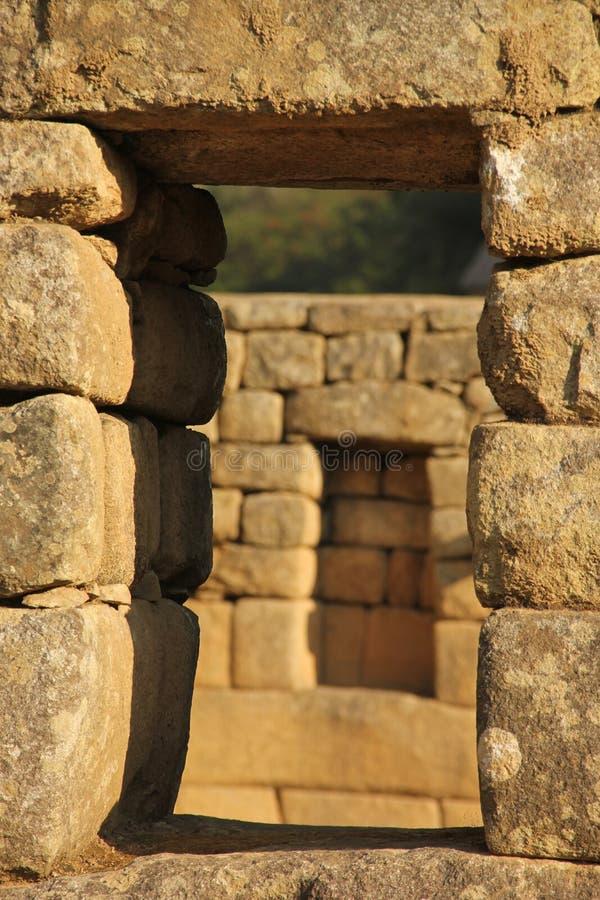 Um detalhe arquitetónico em Machu Picchu imagens de stock