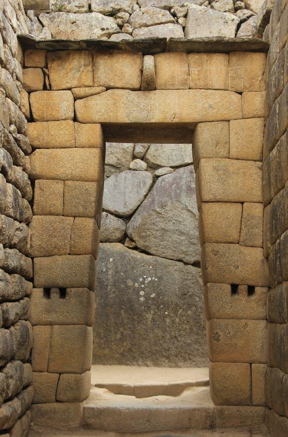 Um detalhe arquitetónico em Machu Picchu foto de stock