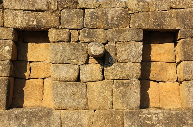 Um detalhe arquitetónico em Machu Picchu imagem de stock