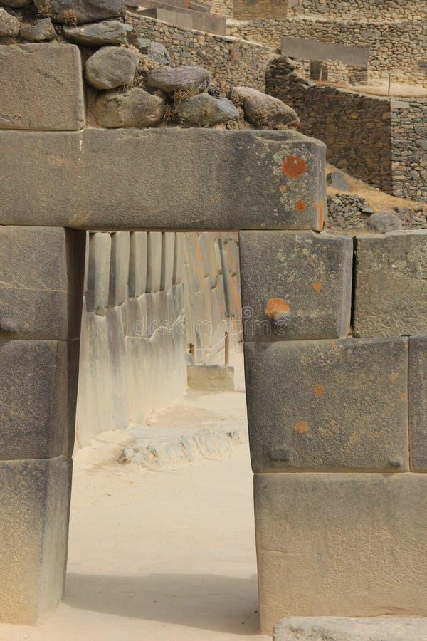 Um detalhe arquitetónico em Ollantaytambo imagem de stock royalty free