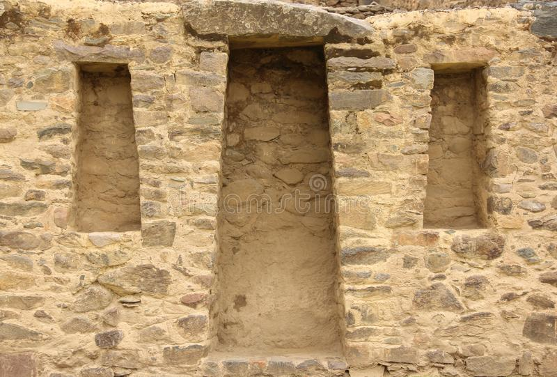 Um detalhe arquitetónico em Ollantaytambo imagem de stock