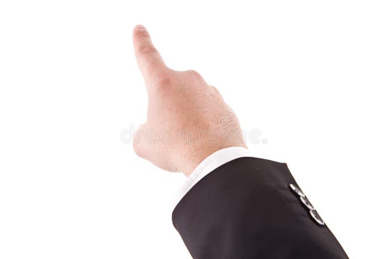 Um detalhe de uma mão que aponta acima fotos de stock royalty free