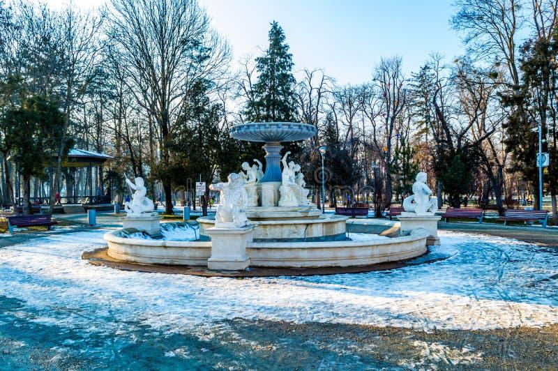Um dia frio e ensolarado no Central Park de Cluj Napoca foto de stock royalty free