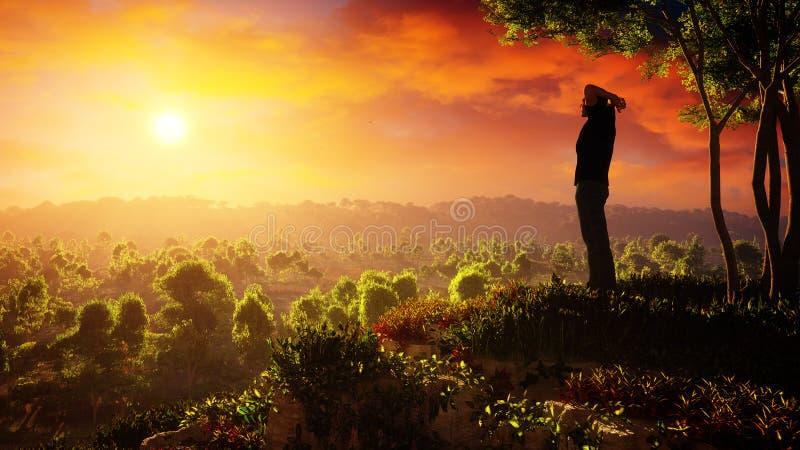 Um dia novo de elevações da esperança ilustração stock