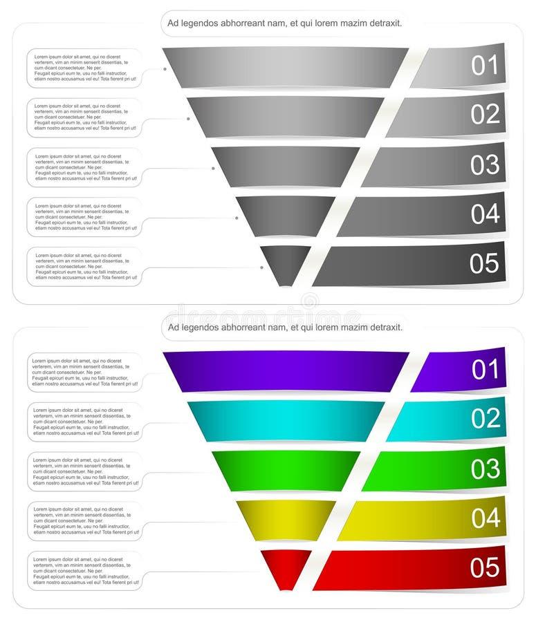 Um diagrama moderno e volumétrico sobre o funil das vendas Cores diferentes e uma vista tridimensional Apropriado para ilustração royalty free