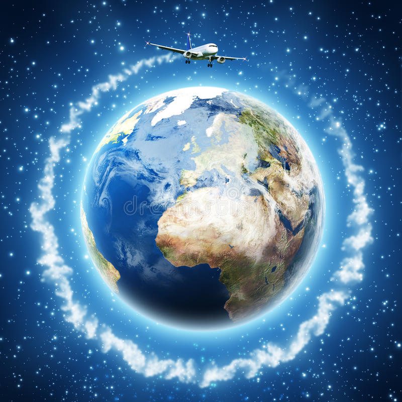 Um die Erde. stock abbildung