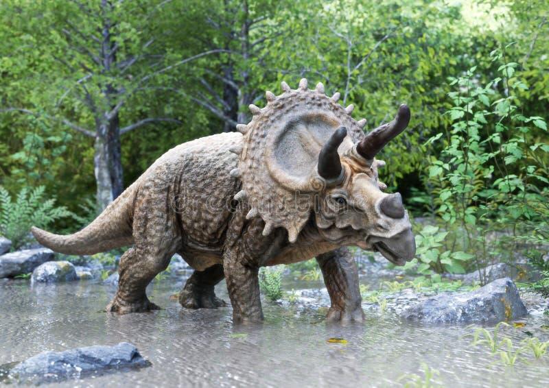 Um dinossauro do stegosaurus que está na água com fundo das madeiras ilustração stock