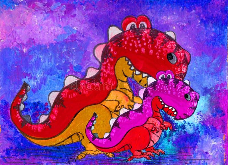 Um dinossauro, um personagem de banda desenhada Figura com pinturas acrílicas Ilustração para crianças handmade Use materiais imp ilustração royalty free