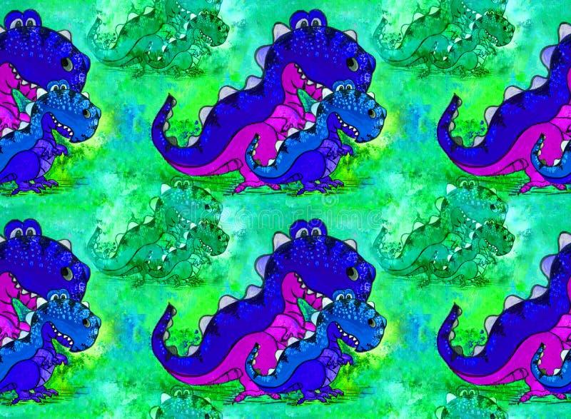 Um dinossauro, um personagem de banda desenhada Figura com pinturas acrílicas Ilustração para crianças handmade Use materiais imp ilustração do vetor