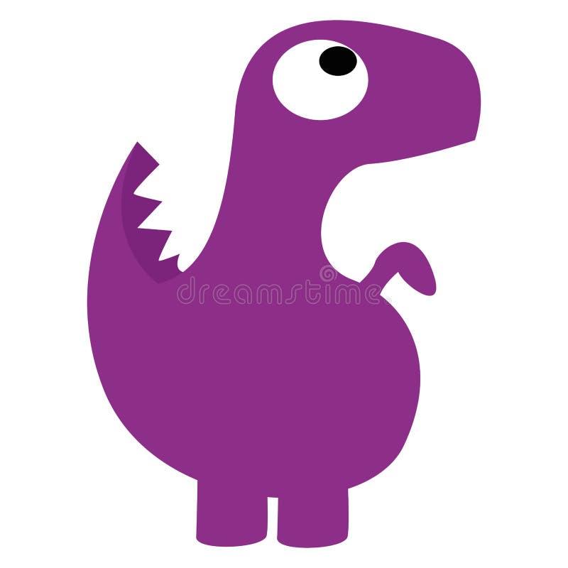 Um dinossauro roxo dos desenhos animados bonitos do vetor isolado ilustração stock