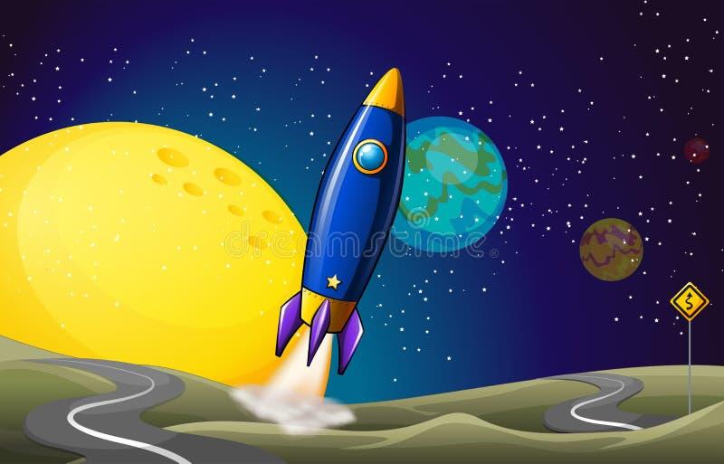 Um dirigível no outerspace ilustração royalty free