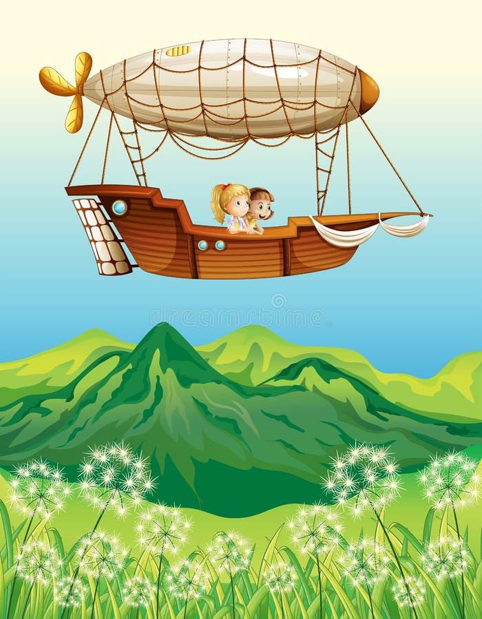 Um dirigível que leva duas raparigas ilustração do vetor