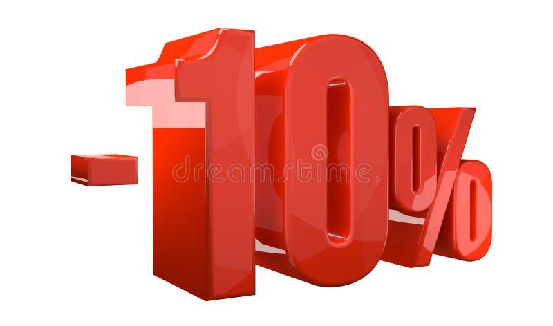 um disconto 3d vermelho de 10 porcentagens rende ilustração stock