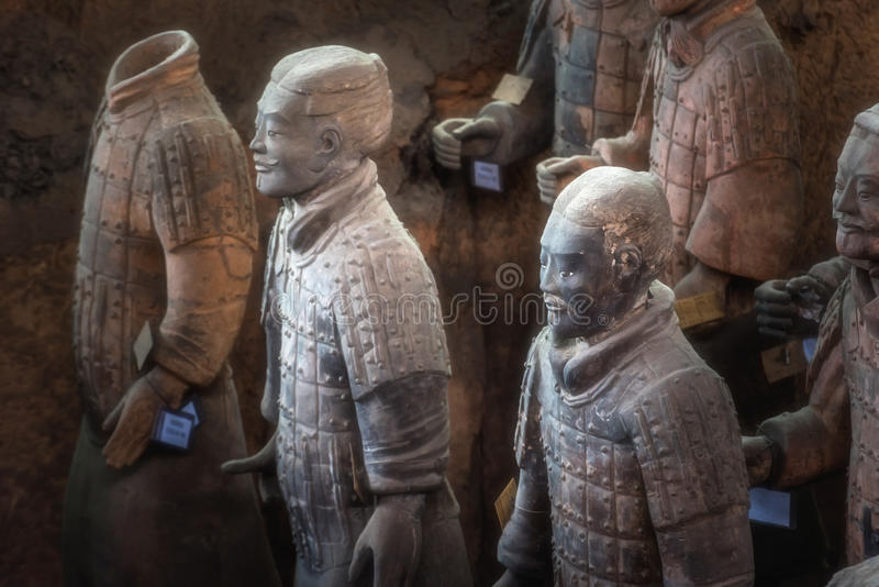 Um do local da herança do Unesco; Guerreiros da terracota; Terra restaurado fotografia de stock