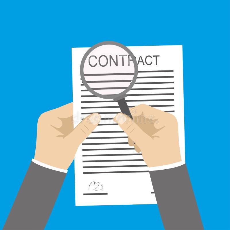 Um documento do contrato da terra arrendada da mão e a outra mão que guardam o magnif ilustração royalty free