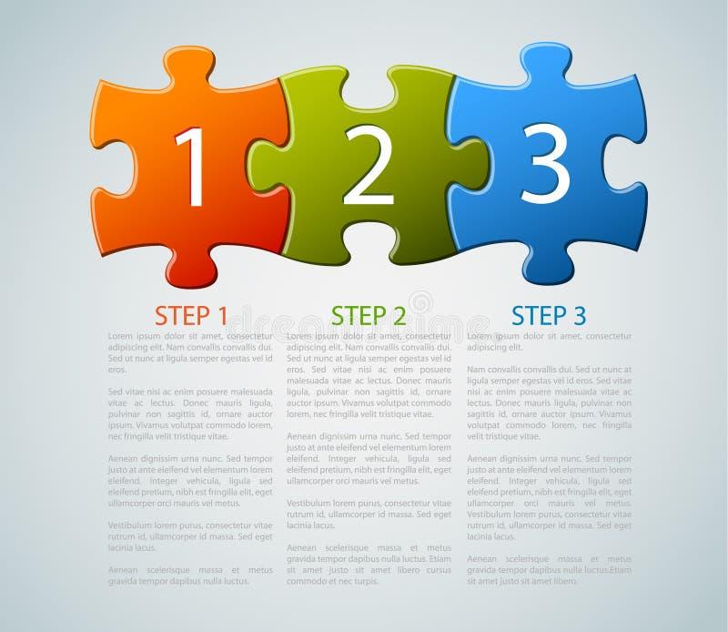 Um dois três - partes do enigma do vetor com números ilustração do vetor