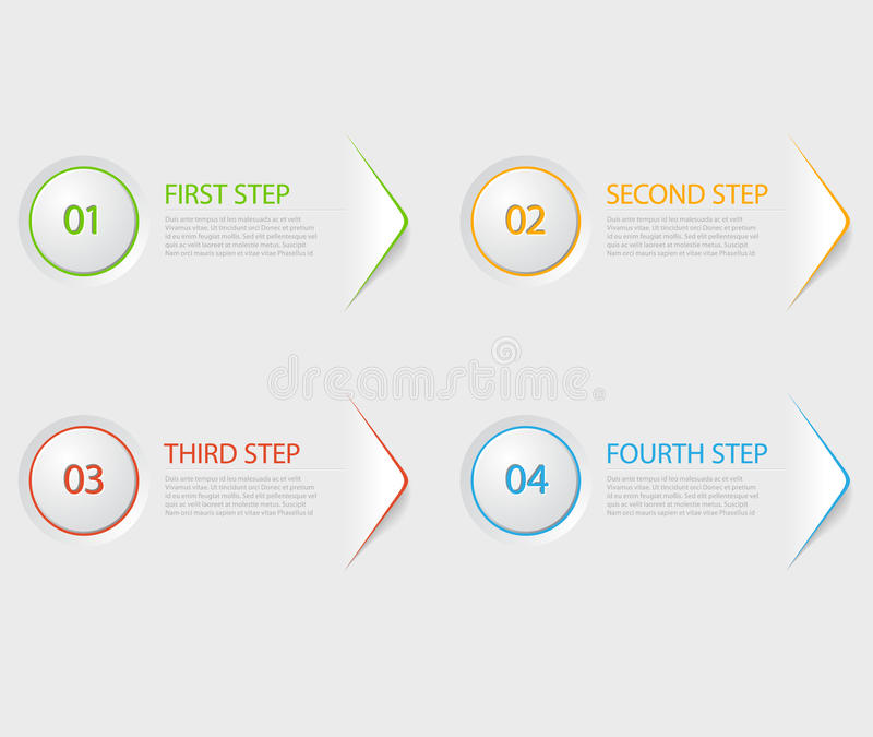 Um dois três quatro - ícones lisos do progresso do vetor para quatro etapas ilustração do vetor