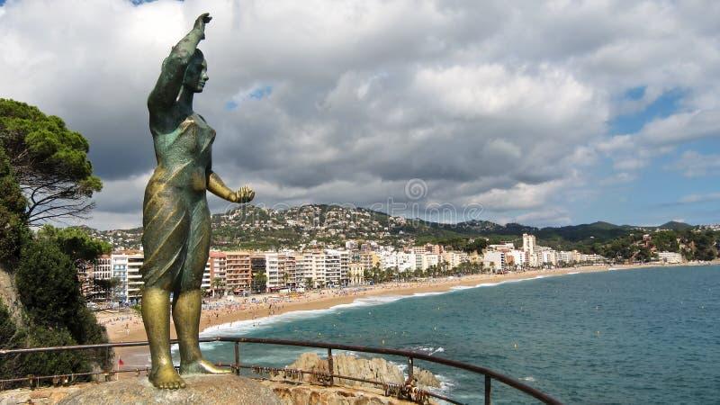 Um dos símbolos da escultura de Lloret de Mar imagens de stock