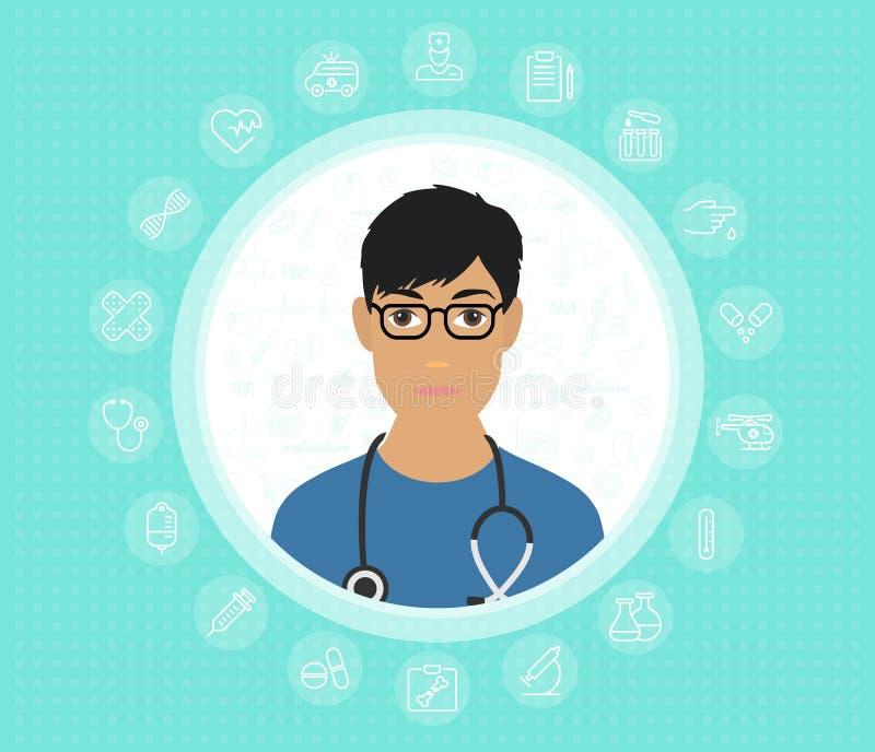 Um doutor amigável nos vidros e no vestido médico com ícones médicos Ilustração lisa do projeto do vetor ilustração do vetor