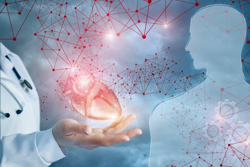 Um doutor está dando um coração brilhantemente de pulsação vivo a uma figura de vidro istead de rodas denteadas mecânicas em sua  foto de stock royalty free