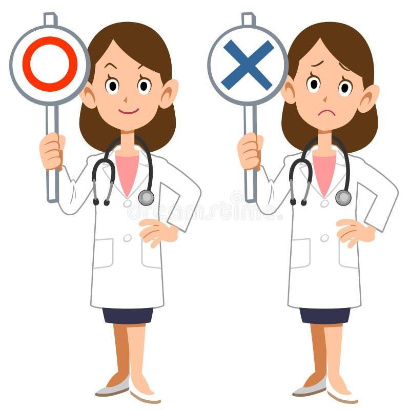 Um doutor fêmea mostra respostas de correto e de incorreto ilustração royalty free