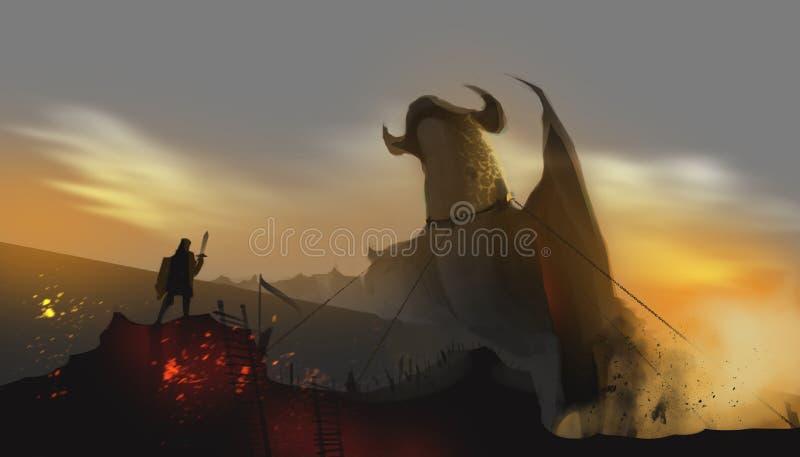 Um dragão acorrentado pelo cavaleiro na terra abandonada, engodo do conto de fadas ilustração stock
